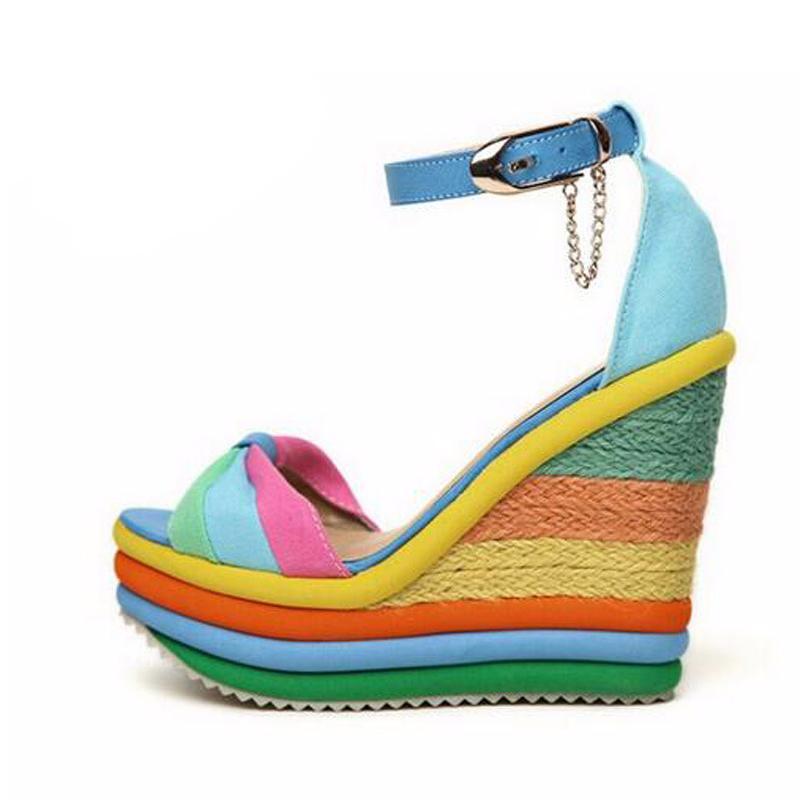 CEYANEAOsandals piattaforma di sandali con zeppa estate blocco Boemia colori tacchi alti con cinturino alla caviglia sandalo donna intrecciato CX200715