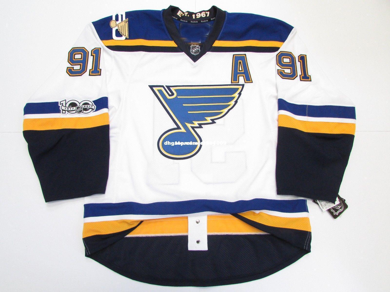 barato costume Vladimir Tarasenko ST. BLUES LOUIS LONGE 100º Aniversário JERSEY ponto adicionar qualquer número qualquer nome Mens Hockey Jersey XS-6XL