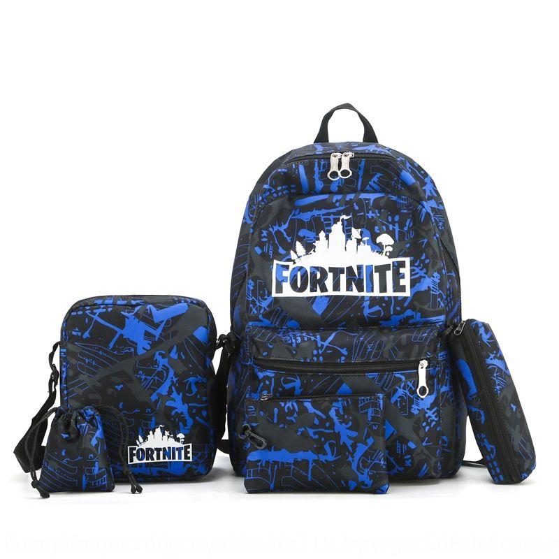 q59uZ Hot sale Fortnite night five-piece game Student bag reflective Hot sale Fortnite night five-piece canvas game Canvas backpack Student