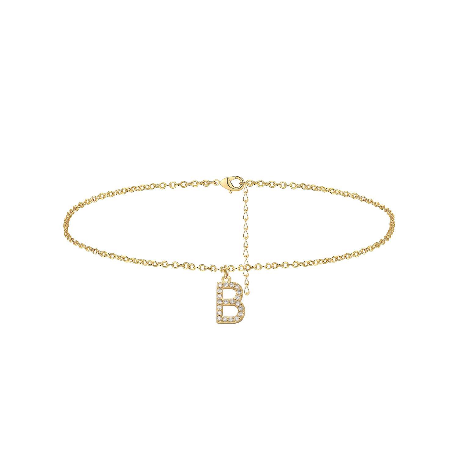 Tiny Dainty Kristall Inlay Anfangsbuchstabe-Charme-Armbänder für Mädchen Mode Schmuck Mutter-Geschenk 26 A-Z Letters Charm Bracelets