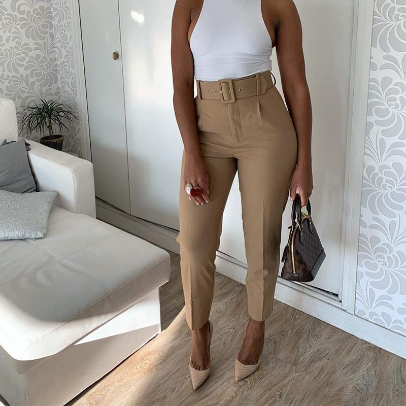 Calças cintura alta preta Mulheres com cinto Pockets Office Lady tornozelo comprimento Calças Feminino de moda primavera 2020 Rosa Harem Pant CX200804