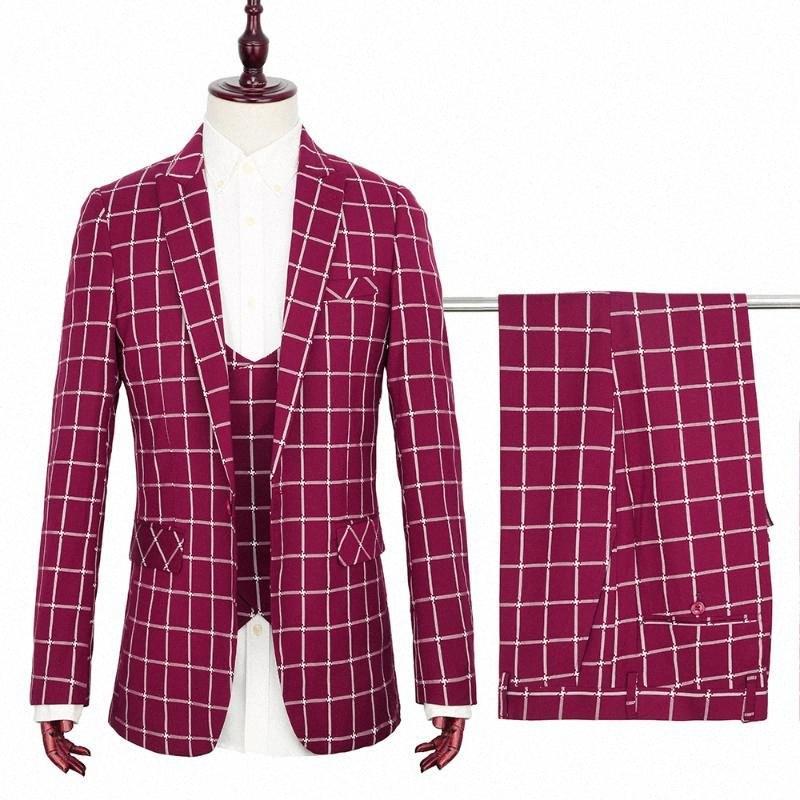 TOTURN 2020 neue Entwurfs-Streifen-3 PC-Männer Anzug Set Smoking-Partei-Kleid-Klage-Muster-Blazer-Jacke-Hose-Hose Weste beiläufige Klage OvXO #