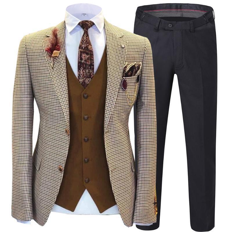 Costume Vérifié hommes Trois Piece Suit Minceur Costume classique Manteau de mariage pour Jackets Costume Oversize Groom Pantalon