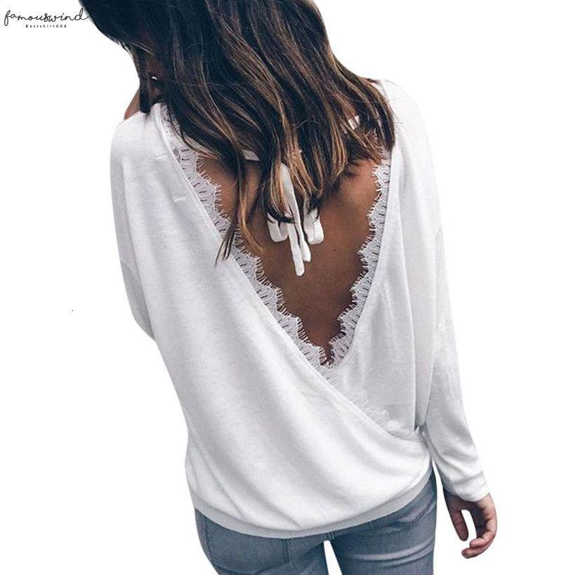 Le donne rappezzatura del merletto Backless shirt Autunno 2020 Scollo a V a maniche lunghe camicetta delle donne di modo casuale allentato delle parti superiori C2335