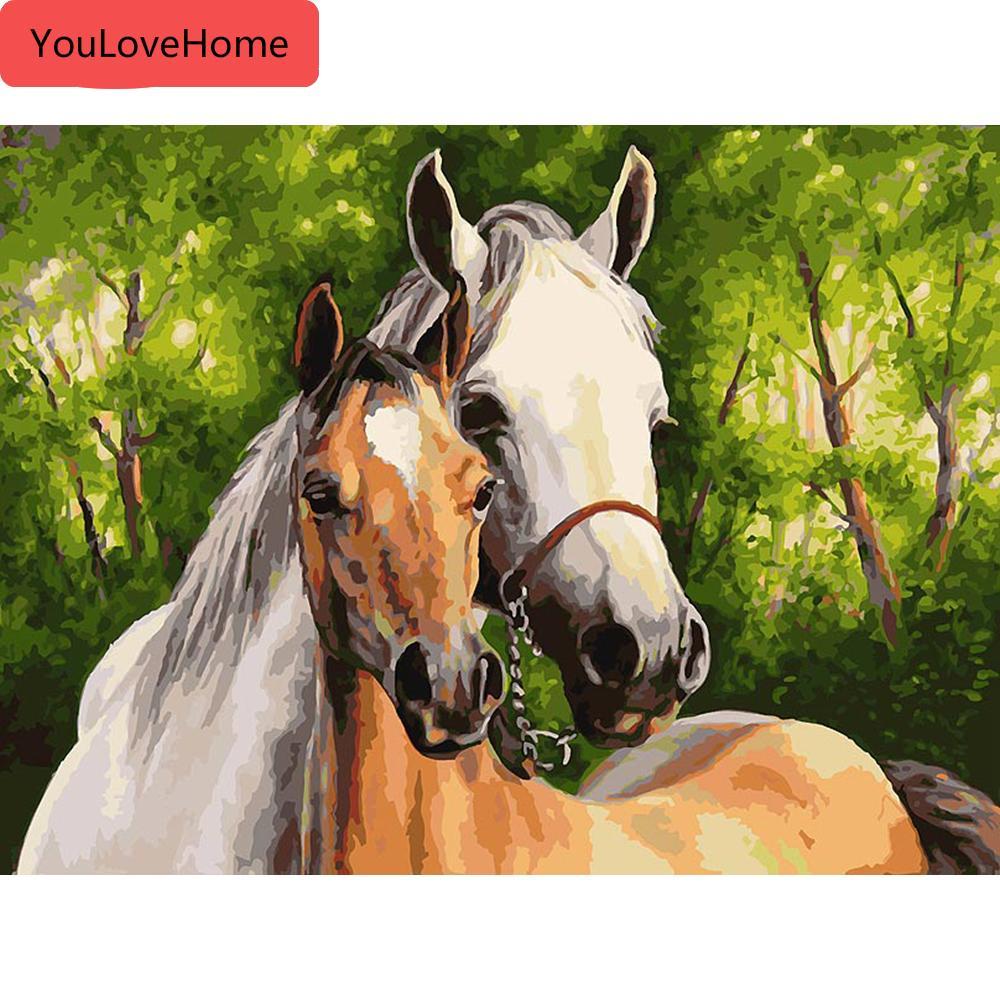 Fotos de DIY por la pintura al óleo animal caballo por los kits de lienzo de dibujo pintado a mano de la decoración del hogar regalo pintado a mano de pintura