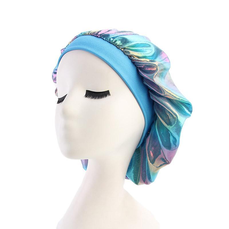 58cm mulheres chuveiro tampões longos cabelos cabelos mulheres estiramento cetim boné tampão noite chapéu chapéu cabeça envoltora ajustar tampões de chuveiro
