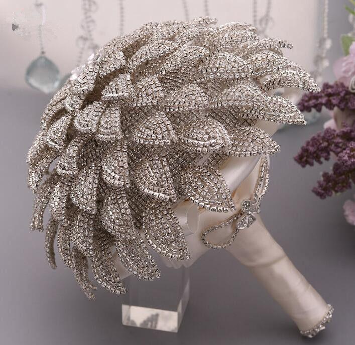 2020 Lüks Kristal Gelin Düğün Çiçekler Vintage Gelin Buketi Shinny Çiçek Yeni Varış Düğün Malzemeleri Bling Bling Gelin Çiçekleri