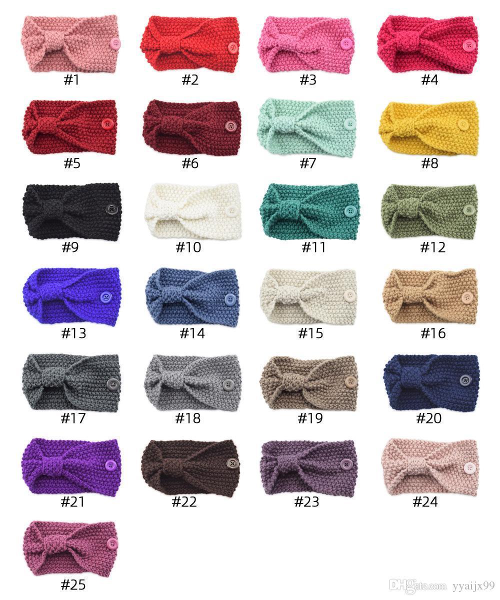 Crochet Knit bandeau serre-tête Masque oreille Boucle élastique oreille Porte-Longe Sport Bandeaux avec bouton