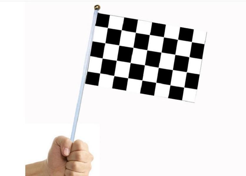 bayrak direği No.8 bayrağı 14 * 21cm polyester çift taraflı desen siyah beyaz dama tahtası bayrak Racing 2020 sıcak satış