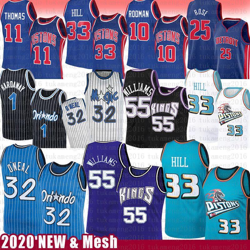 Джейсон Уильямс 55 Грант 33 Hill Шакил О'Нил 32 Баскетбол Джерси Поршень Magics Пенни Деррик Роуз Hardaway Isiah Деннис Родман Томас