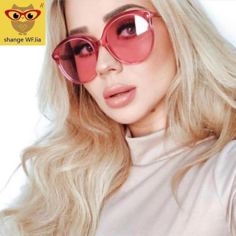 المتضخم الإطار النظارات الشمسية الكبيرة السيدة Okulary نظارات السيدات جولة نظارات شمسية خمر فاخرة 2020 نساء المحيط واضح عدسة الوردي
