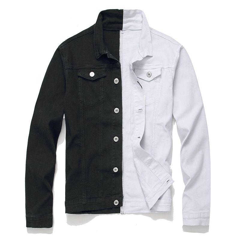 Мужская уличная черно-белый лоскутная Приталенная джинсовая куртка хип-хоп мужской хлопок случайной куртка