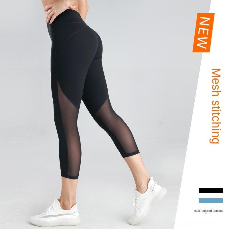 ErYPQ Весна и лето новый погонных спорт хип лифтинг фитнес высокий йога штаны талии высокой упругой сетки сшивание дышащие узкие брюки йоги