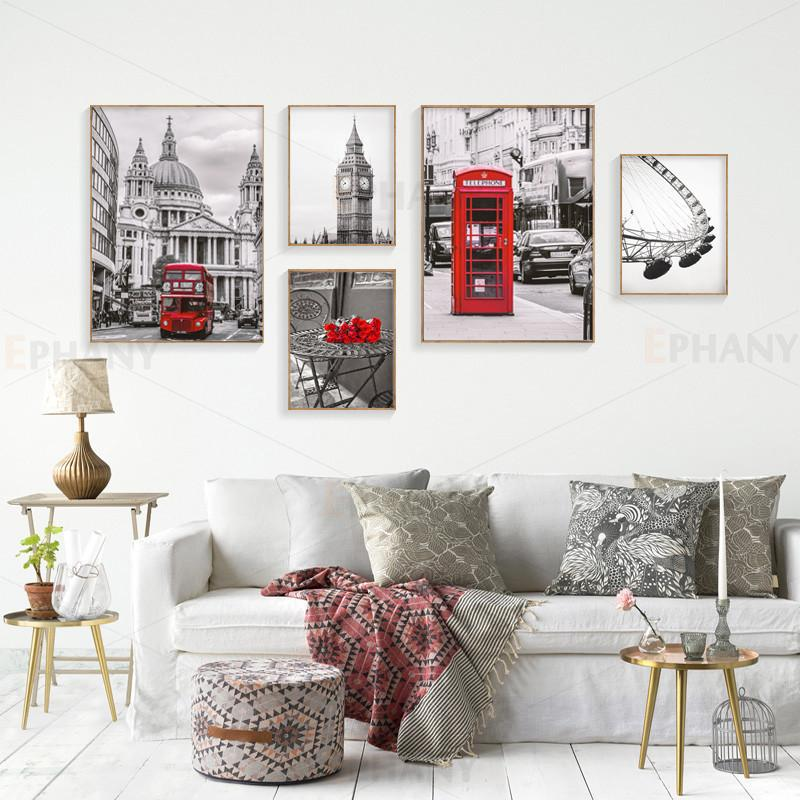 Grey and Red Cityscape Canvas Poster Nordic Decoration Bell Tower Red Bus Wall Art Print Painting Decorative Picture Home Decor