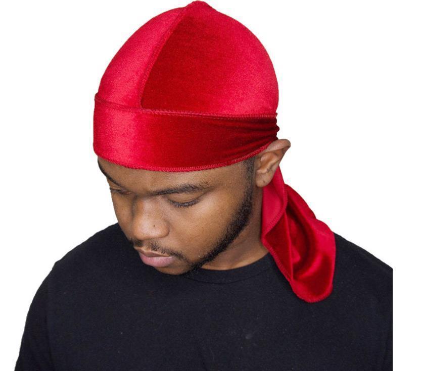 Kadife durags Gömlekleri Bandana Turban Şapka Uzun Kayış korsan kapakları Peruk Doo Durag Biker Şapkalar Kafa Korsan Hat unisex 14colors Lüks