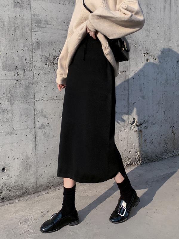 2020 primavera y el otoño de las mujeres falda larga elástico de la cintura caliente de punto recto delgado elegante Negro lápiz Faldas Faldas Jupe femme