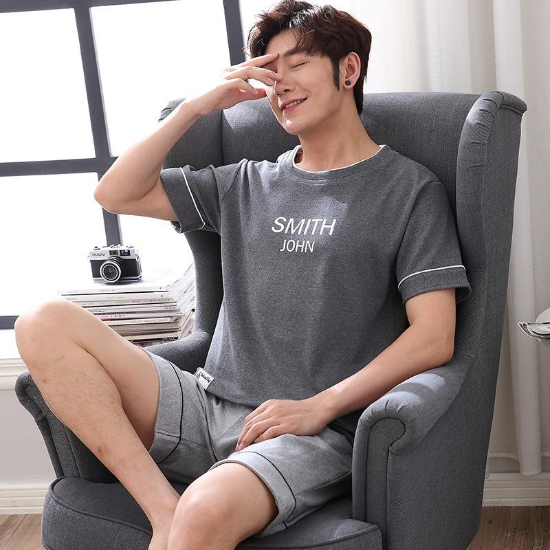 Cotton men's pajamas pajamas summer new casual cotton home wear short-sleeved pants suit YY#901#907# Collection