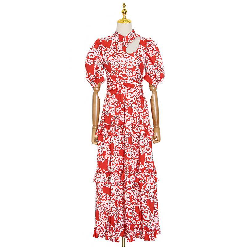 Une ligne d'été évider Robe à volants Imprimer femmes col manches bouffantes taille haute robes Femme mode d'été Nouveau 2020