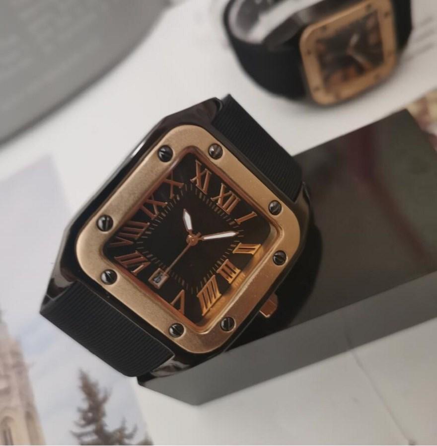 Rose Gold Luxury Casual Men Square Часы кварцевых платья дизайнер часы Мужчина Календарь Женщина Браслет