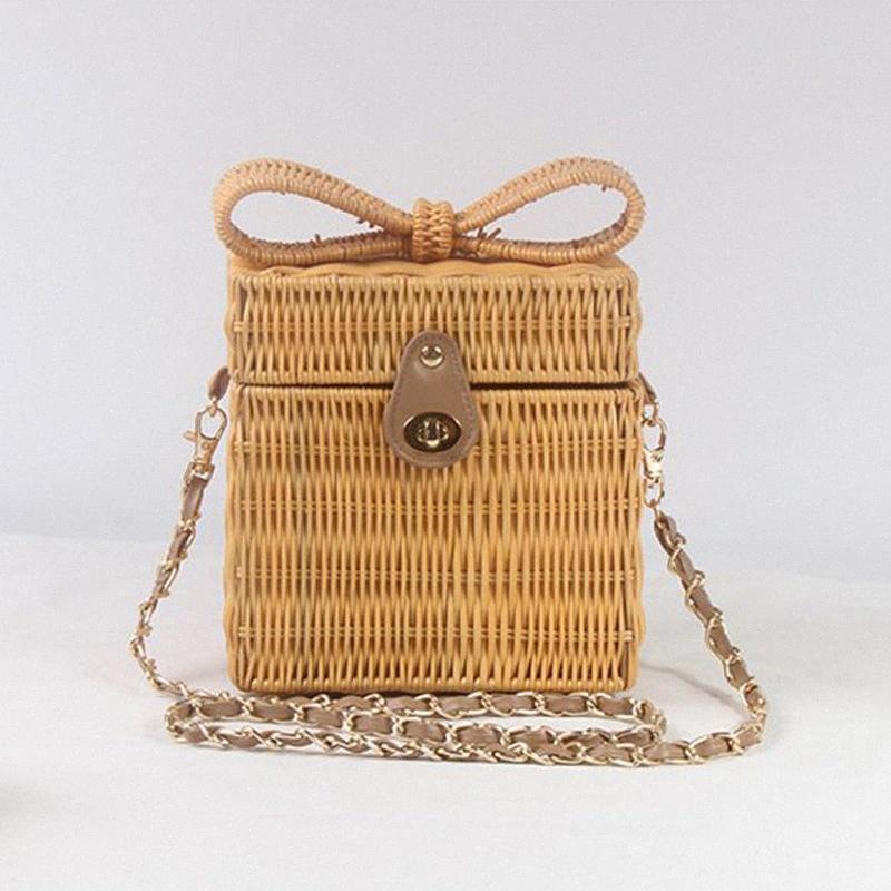 New cute three-dimensional bow square rattan bag shoulder chain grass straw bag holiday travel Messenger es9y#