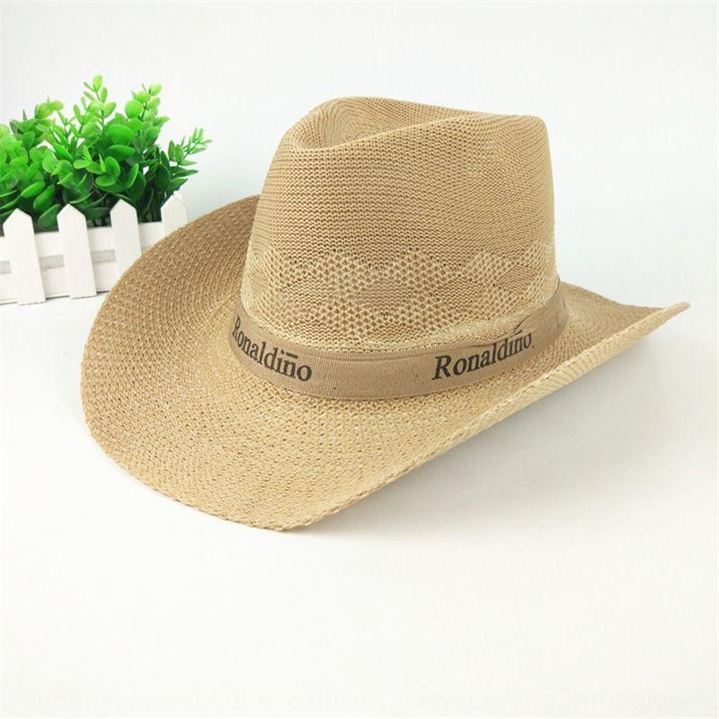 Summer outdoor screen Cowboy Sun sun straw men's Western cowboy big edge sunshade hat travel Jazz hat