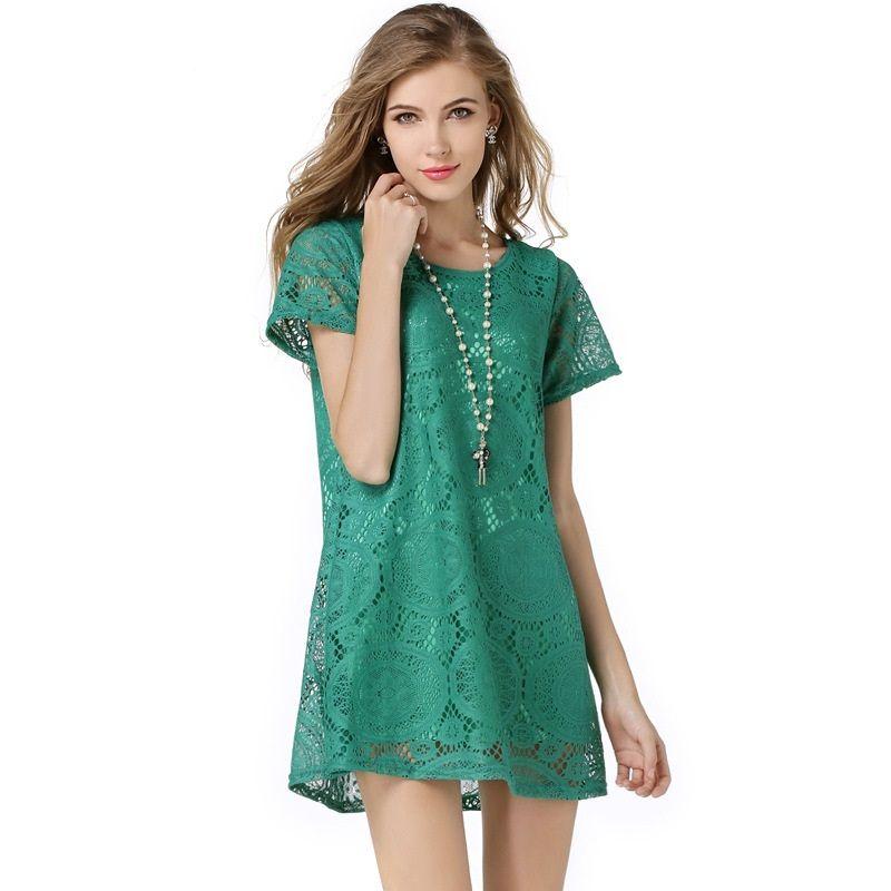 Moda Kadın Bayan Giyim Casual Dantel Elbise Gömlek Üst Elbise İnce Şık Dantel Ucuz Ücretsiz Gönderim
