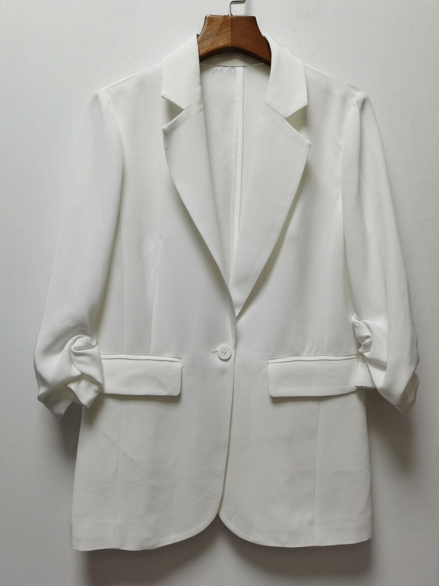 GV6mE New triacético casaco pequeno punho branco nenhum botão commuter OL Botão terno casaco SMLXL não retornar mudança plissado