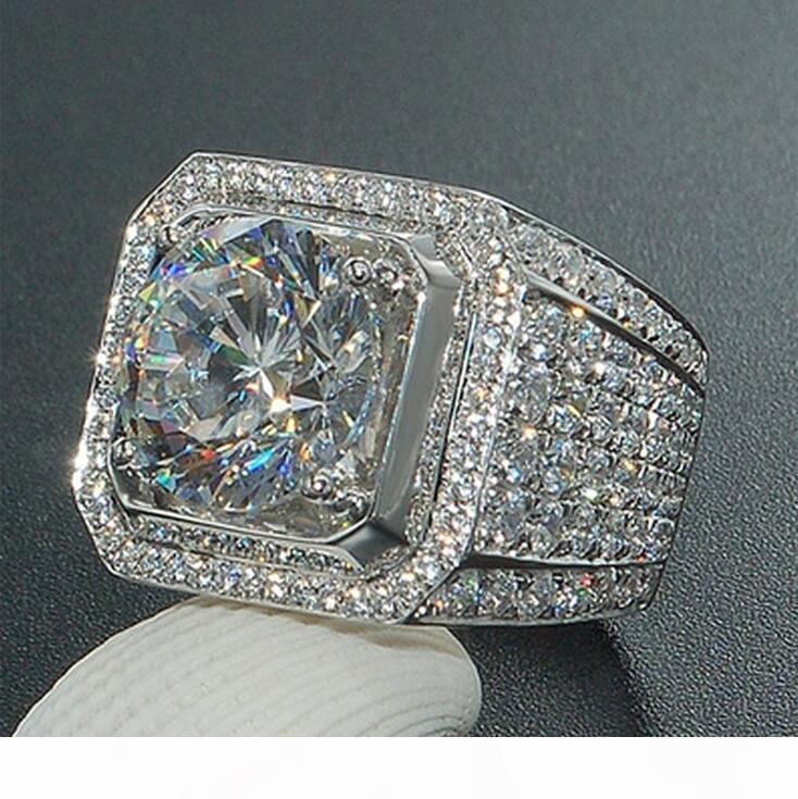K joyería de lujo de mayor venta caliente hecha a mano 925 redondo de plata corte 5a claro Tamaño anillo de los hombres blancos de la CZ pavimenta el partido 8 de la boda -13 C19041