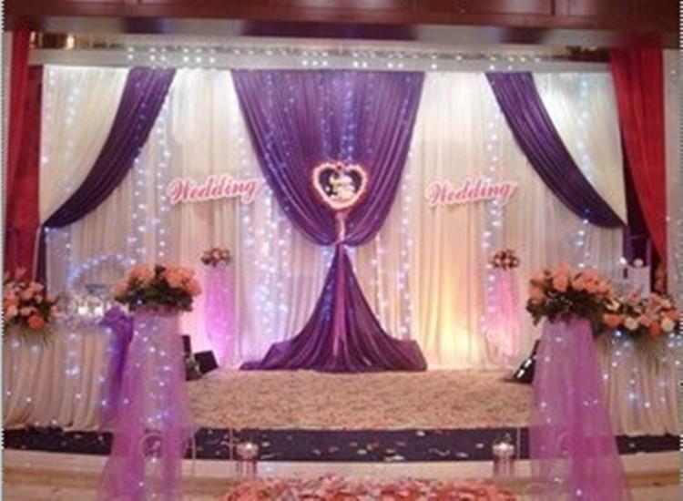 telón de fondo de lujo fuentes de la boda de la boda etapa 3mx6m con Beatiful Swag de la boda decoración de la etapa telón de fondo