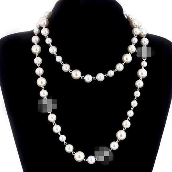 Collar de perlas de la moda de las mujeres suéteres de collar de perlas de oro rosa plateado de mujer Accesorios mejores regalos de joyería