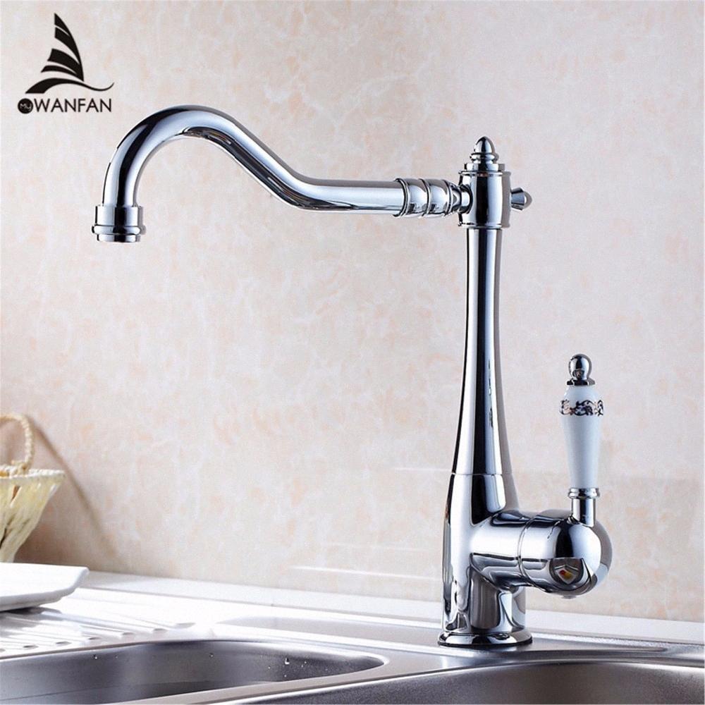 Titular Torneiras de cozinha Único Single Hole Kitchen Sink Faucet Swivel bico cerâmica punho Chrome Latão Mixer Água Torneiras HJ-7801 AkmL #