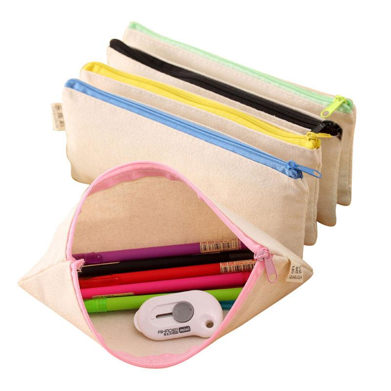 Nuevos alumnos lápiz lápiz bolsa de bolso escolar dibujado papelería simple mano lienzo doodle suministros oficina oficina lápiz bolso pb0603 regalo 20 FCTP
