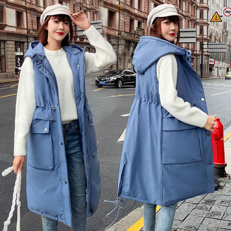 2020 New hiver Femmes Automne chaud en vrac épais coton rembourré long Gilet Femme coréenne solide All-match de manches Waistcoat A189