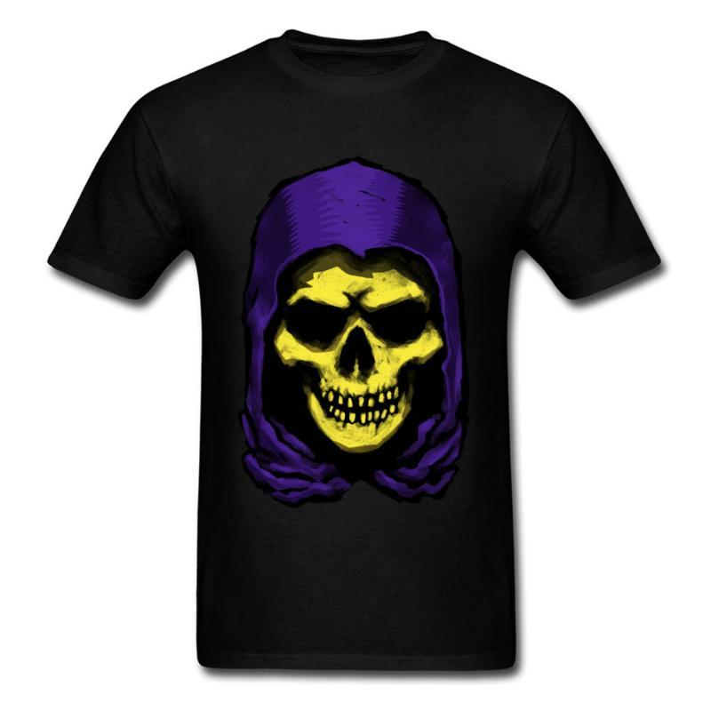Neuer Ankunfts-Mann-T-Shirt Halloween-Gelb Schädel-Druck 100% Baumwolle Schwarz-T-Shirt Erwachsener übersteigt Stück Individuelle Firmen