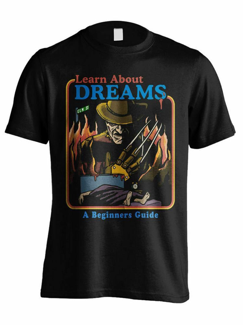 Узнайте о Сон Фредди Крюгер Кошмар на улице Вязов Черная футболка S-3XL Модные Streetwear футболочку