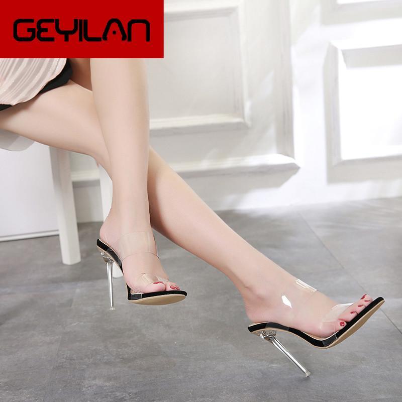 2020 estate delle donne 12 centimetri Tacchi alti Almond-Toe Stiletto Cancella Tacchi sandali di svago di modo trasparente Open-Toe Jelly Abito scarpe