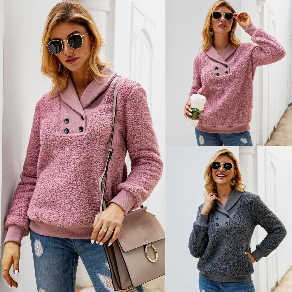 Womens Designer Hoodies Herbst-Winter-Langarm zweireihiger Sexy Sweatshirt Frauen Pullover Art und Weise beiläufige Tops