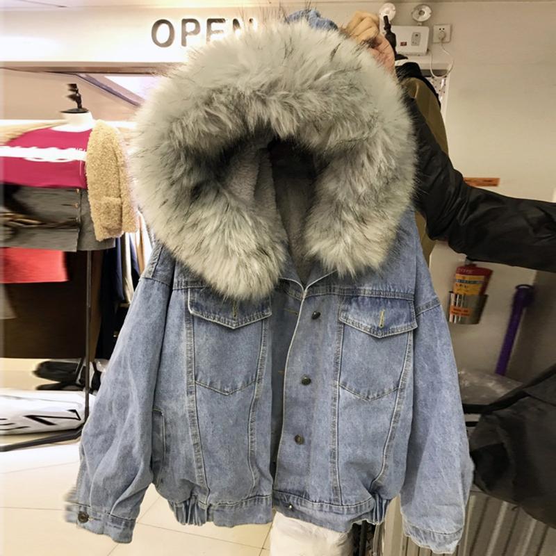 Kürk Kış Jeans Kapşonlu Kadife Ceket Kadın Faux Kürk Yaka 2020 yastıklı Kalın ceket Bomber Windbreake ile Bayan Denim Ceket
