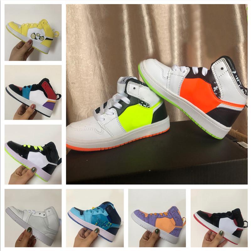 2020 Haut JO de jeunes enfants Chaussures de basket magasin Livraison gratuite en gros Prix Top qualité 1 Sneaker enfant en bas âge Formateurs Taille 28-35