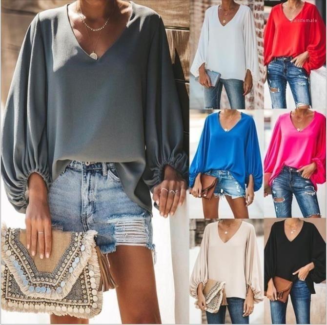 T-Shirts beiläufig Laterne Sleeve V-Ausschnitt los Tops 20ss New Women Clothing Plus Size Frauen Designer