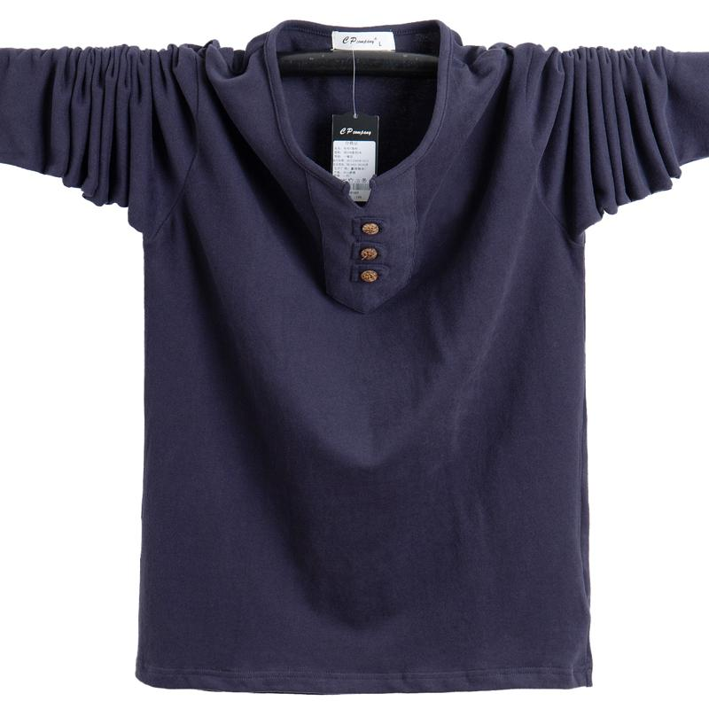 Новая осень Мужские футболки Мода 2020 Slim Fit с длинным рукавом Хлопок T Shirt Men Кнопка Tops Casual Мужская одежда Плюс Размер 5XL