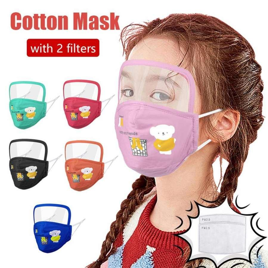US Stock 50 Pcs Kids Designer Face Mask With Eye Protective Shield Cartoon Bear Children Cotton Mouth Masks With 2 Filters Free Full Cover