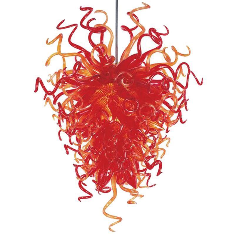 Светодиоды люстры Светодиодные огни Оранжевые Цветные Кристалл Ручной Врушение Боросиликатные Стеклянные Люстры Освещение Светильники