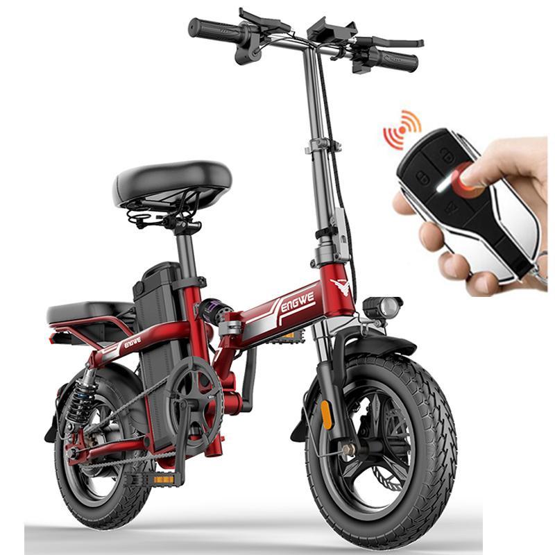 14 인치 미니 전기 자전거 350W 강력한 접이식 스쿠터 산 전기 자전거 48V32A LG 전자 리튬 배터리 도시 E 자전거 두 좌석