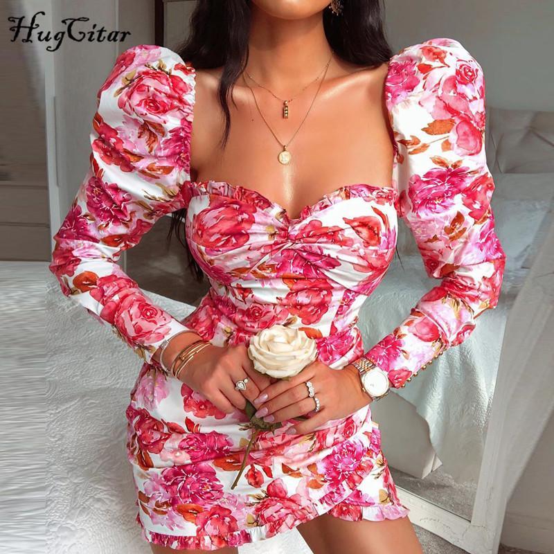 Hugcitar 2020 длинного рукав цветочного принта Ruched оборок мини-платье осени зима партия женщин мило наряды уличные