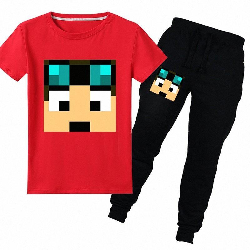 Niños del bebé de la camiseta de los pantalones 2pcs conjuntos Dan TDM Stampy camisetas del gato imprimir chicas sudadera Sudaderas niños ropa de manga larga Gormiti vEN5 #