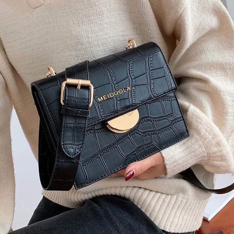 Stein Plain-Muster PU-Leder Crossbody Beutel für Frauen 2020 Qualitäts-Schulter-Kurier-Beutel Weiblicher Handtaschen und Geldbörsen