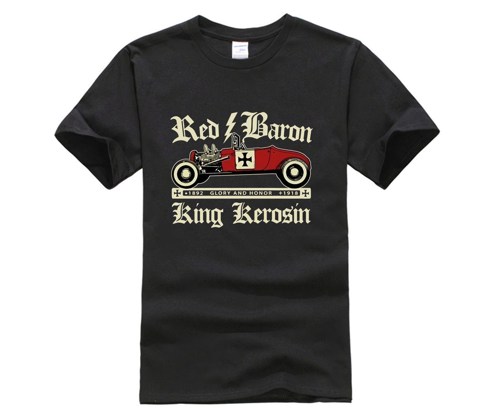 Yaz Erkek Yeni Arrvial Yaz Stil Moda Erkekler T Shirt Kırmızı Baron Bize Otomobil Hot Rod Rockabilly Youngtimer Retro V8 Tee Gömlek