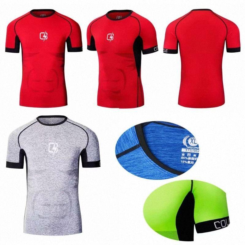 Aptitud de los deportes camisetas compresión gimnasio delgado apretado ropa de manga corta a rayas de funcionamiento del hombre del basculador Sportwear Tee Shirts 5yqz Varón #