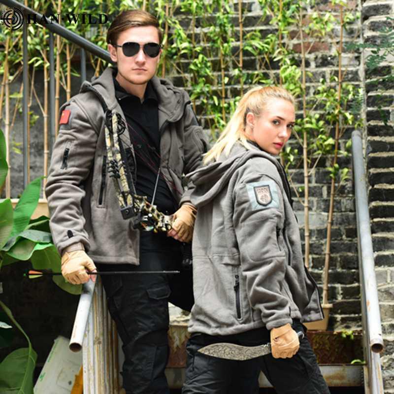 Мужчины Женщины Тепловой флис Тактическая куртка на открытом воздухе Боевые туристы Верхняя одежда Армия с капюшоном Флисовое мягкое пальто